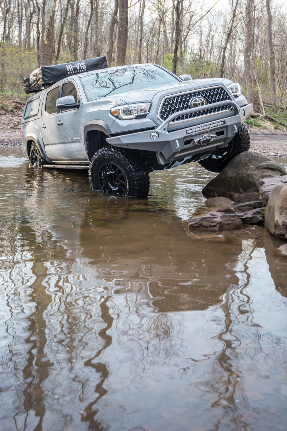 This Toyota enjoys water and rock climbing