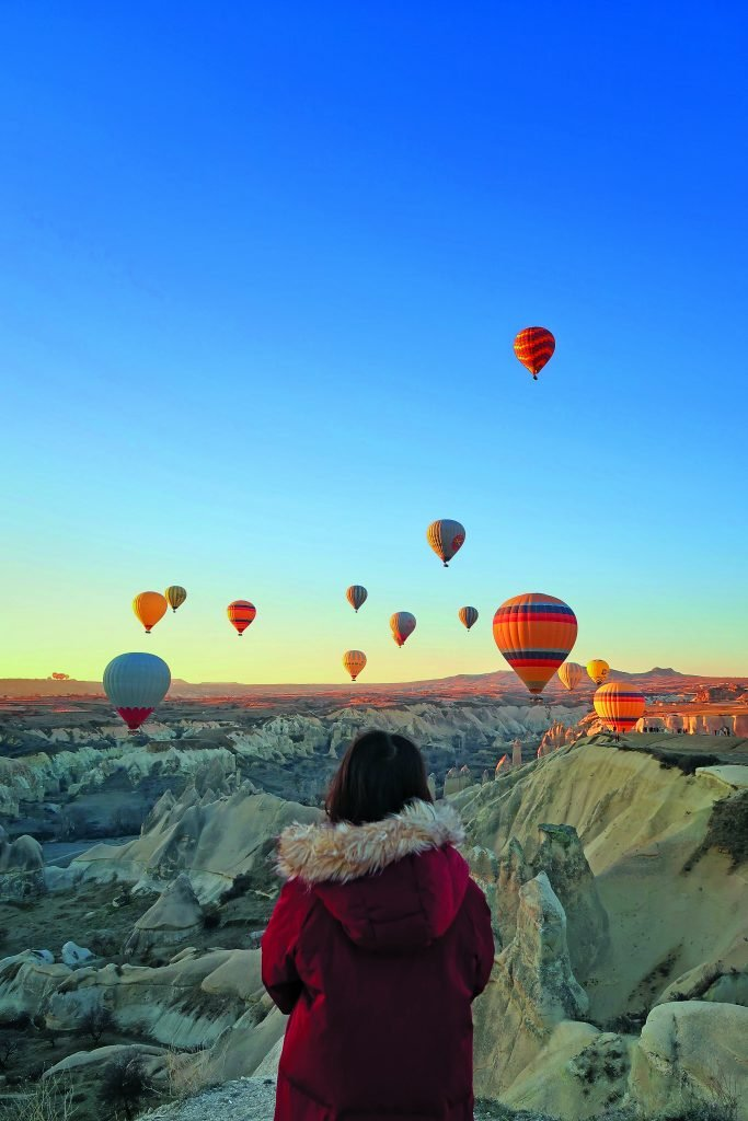 Hot air balloons soar in Cappadocia, Turkey