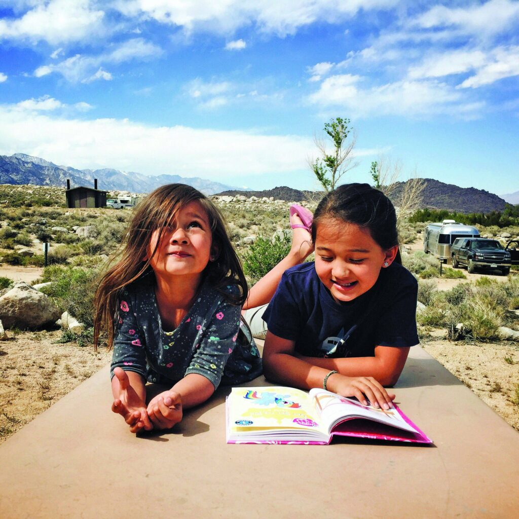 Road school reading near Lone Pine, California