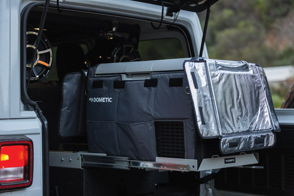 Easy kitchen setup that pulls out of the back of the Jeep Wrangler
