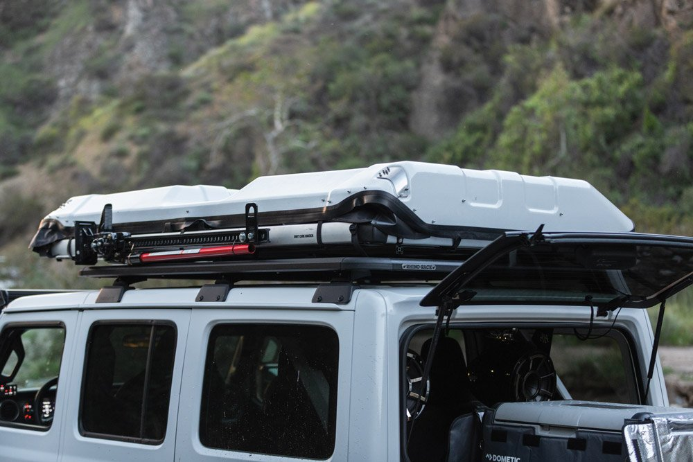 Rhino Rack's roof rack helps with organization