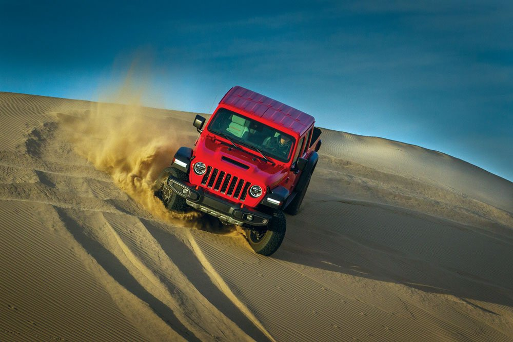 Jeep Gladiator Mojave turning sand corners with a 285hp Pentastar V-6