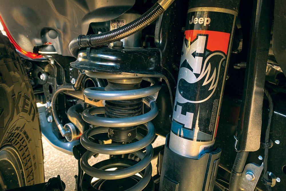 Fox 2.5-inch internal bypass shocks are fitted with remote reservoirs