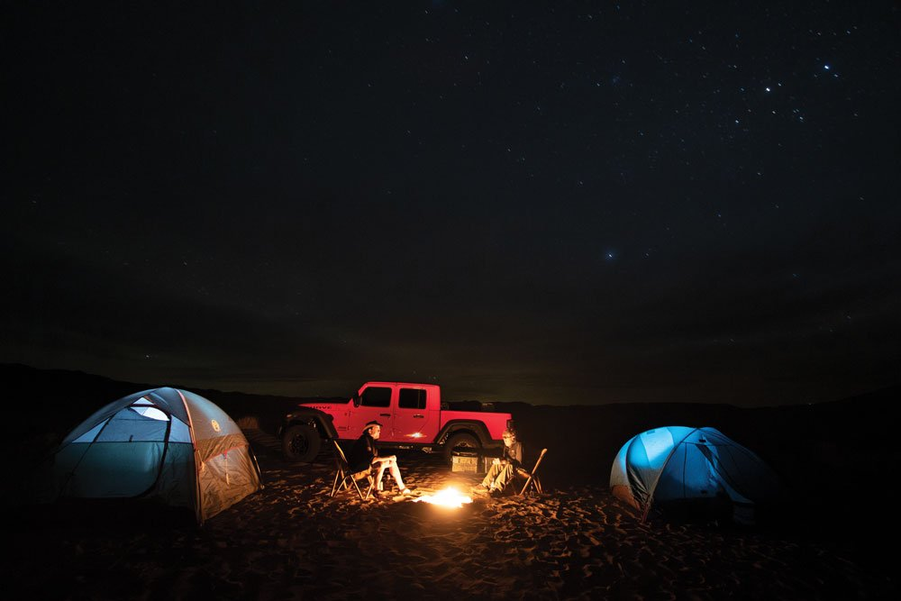 We set camp under clear skies and witnessed constellations