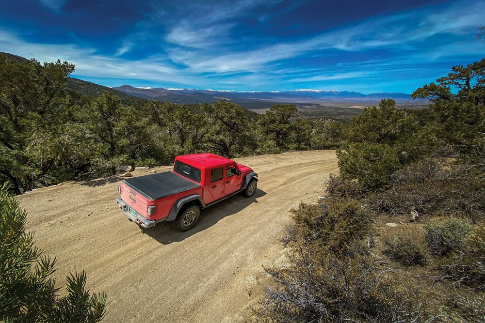 The Jeep Gladiator Mojave driving over Sunrise Pass in the Pine Nut Mountains