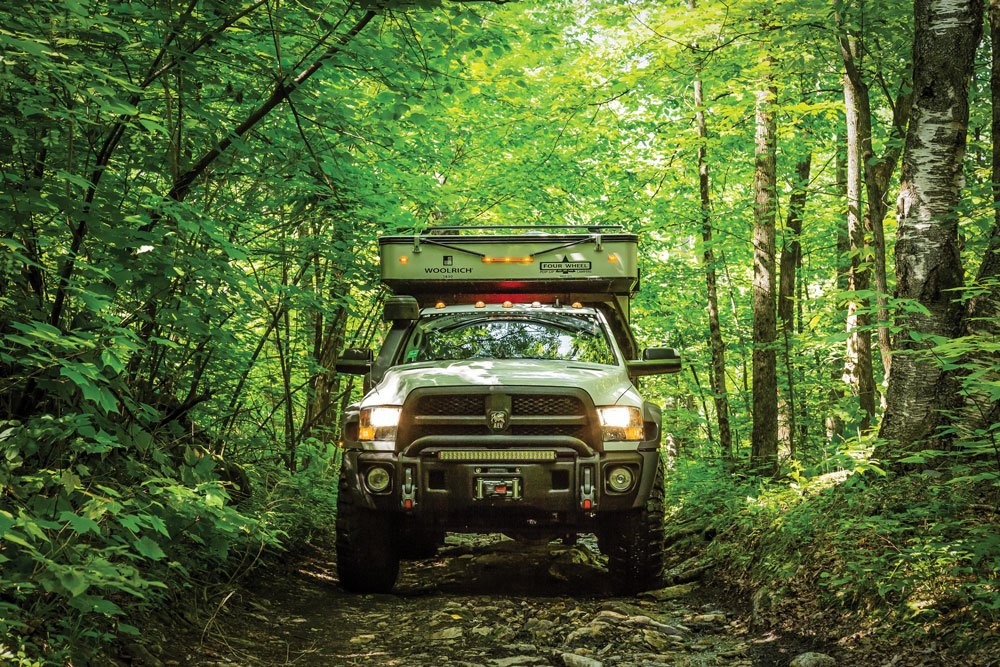 The AEV Prospector XL Camper makes its way with ease