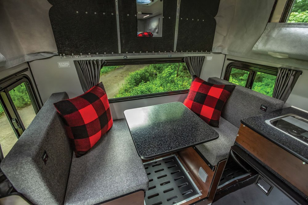 This camper has comfortable seating for four