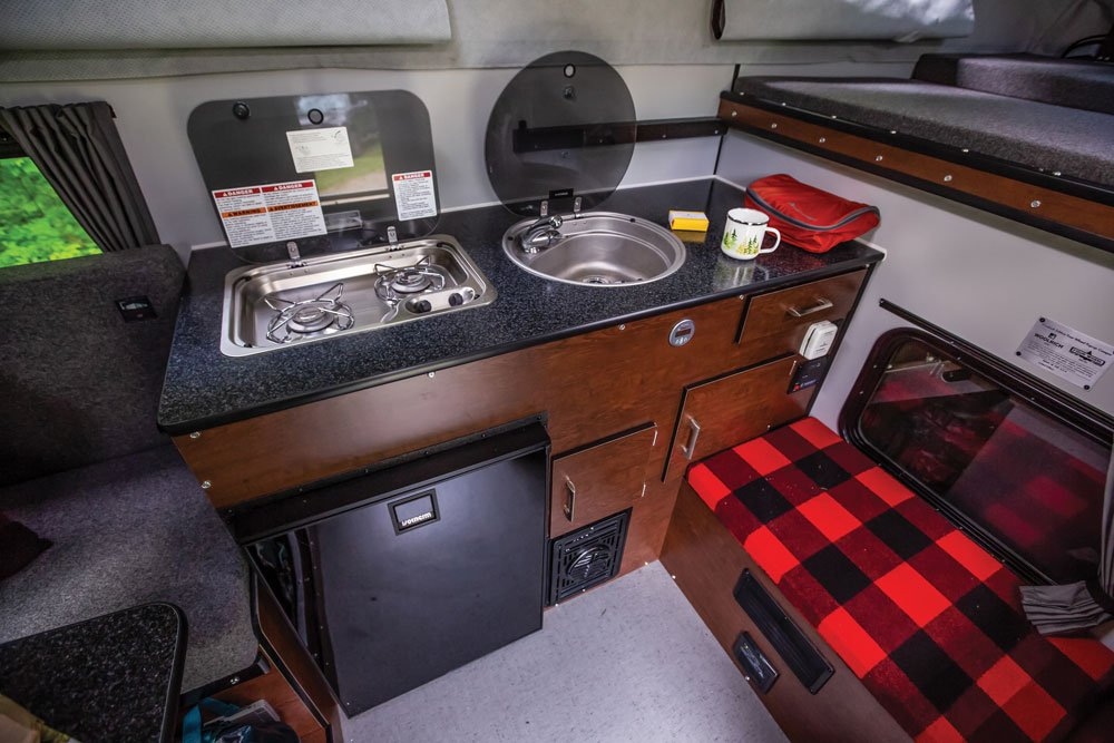 This Four Wheel Camper even includes the kitchen sink