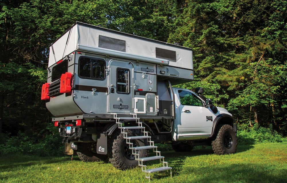 When a truck camper is this tall it requires a few steps to climb aboard