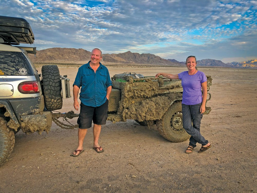 Bill and Trisha cross a wet/dry lakebed