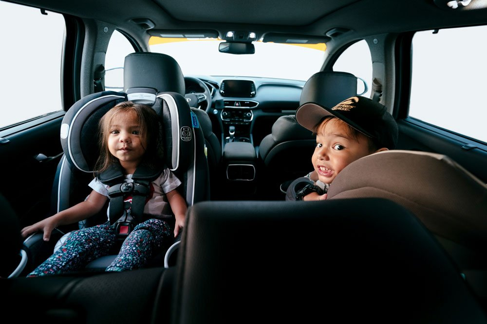 The Santa Fe provides enough room for the kids and their car seats