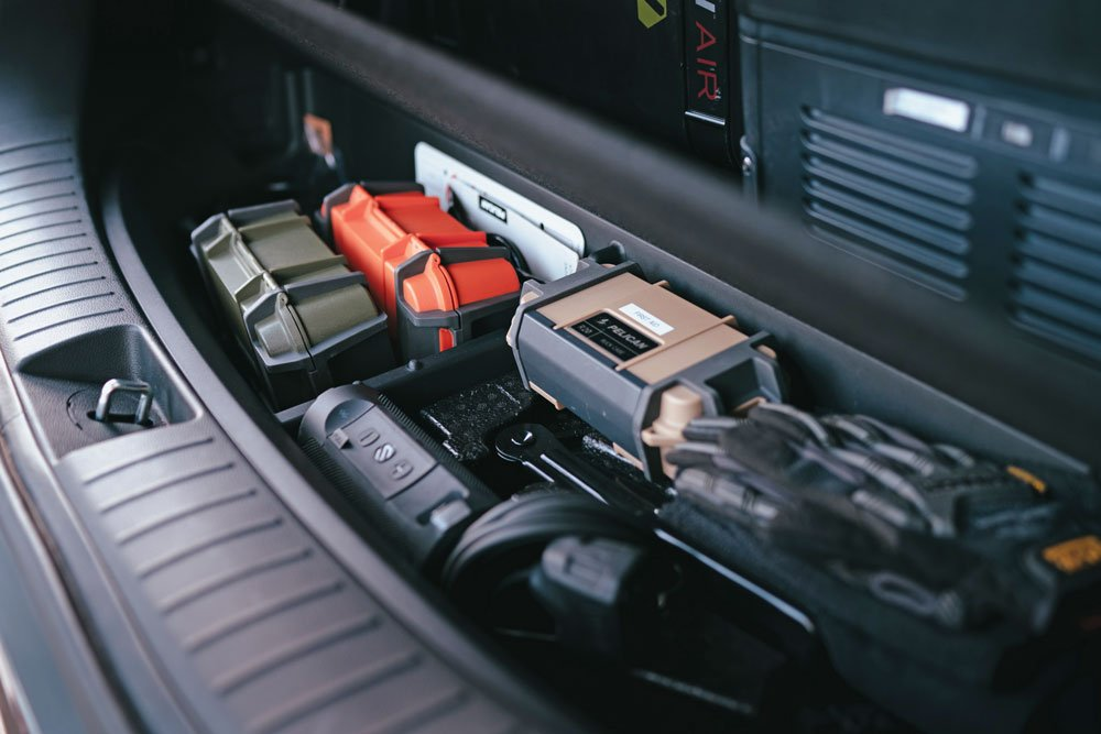 Pelican cases keep items organized in the Santa Fe's trunk space