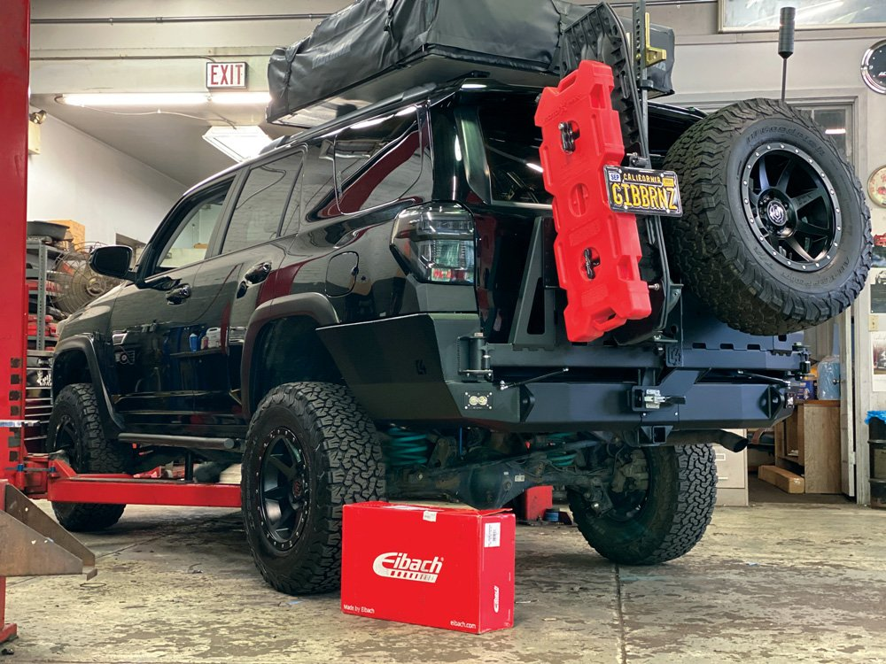 4Runner in the shop for installation of the Eibach Load-Leveling System