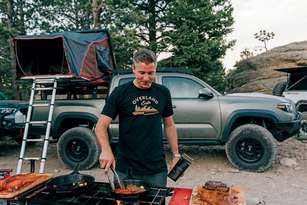 Jason Nicosia with Overland Eats cooks up food to share