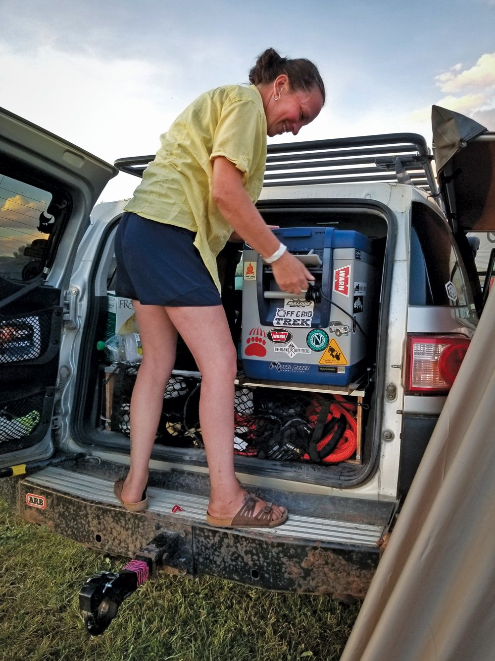 Everything is strategically packed into the couples FJ Cruiser
