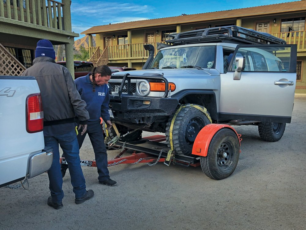 FJ Cruiser getting prepped for the trip for transmission repairs