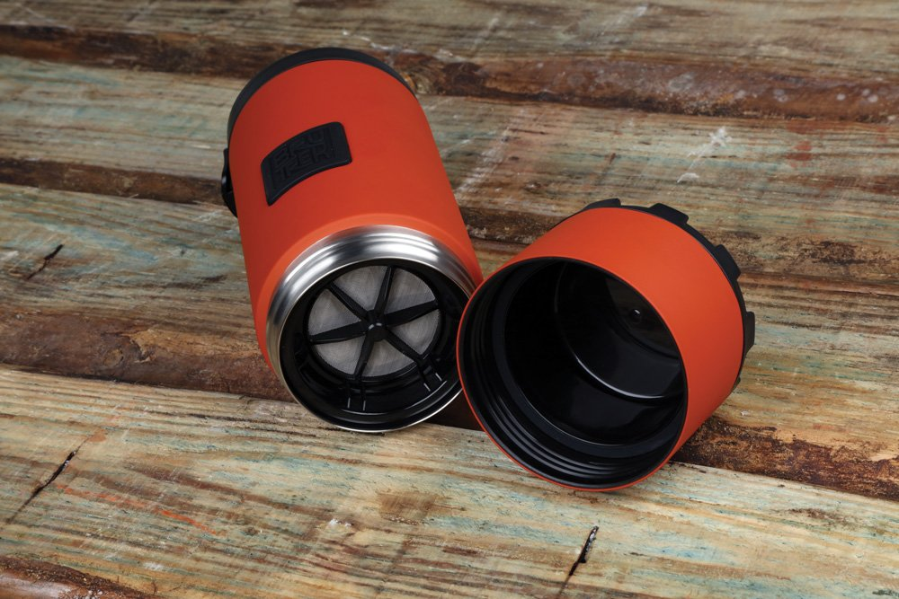 The bottom of the Ovrlndr travel French press captures coffee grounds and easily unscrews.