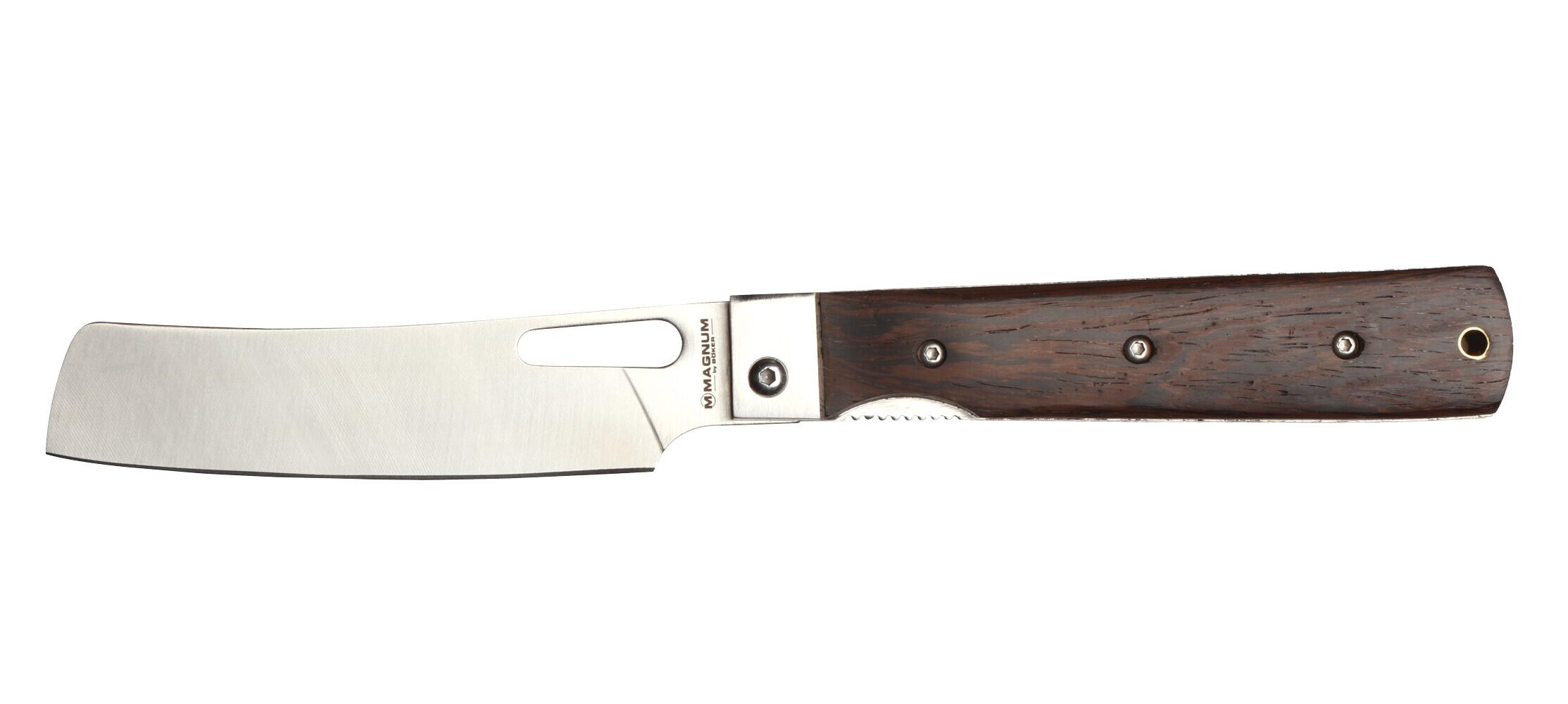 Pocket cleaver with brown handle made by Boker.