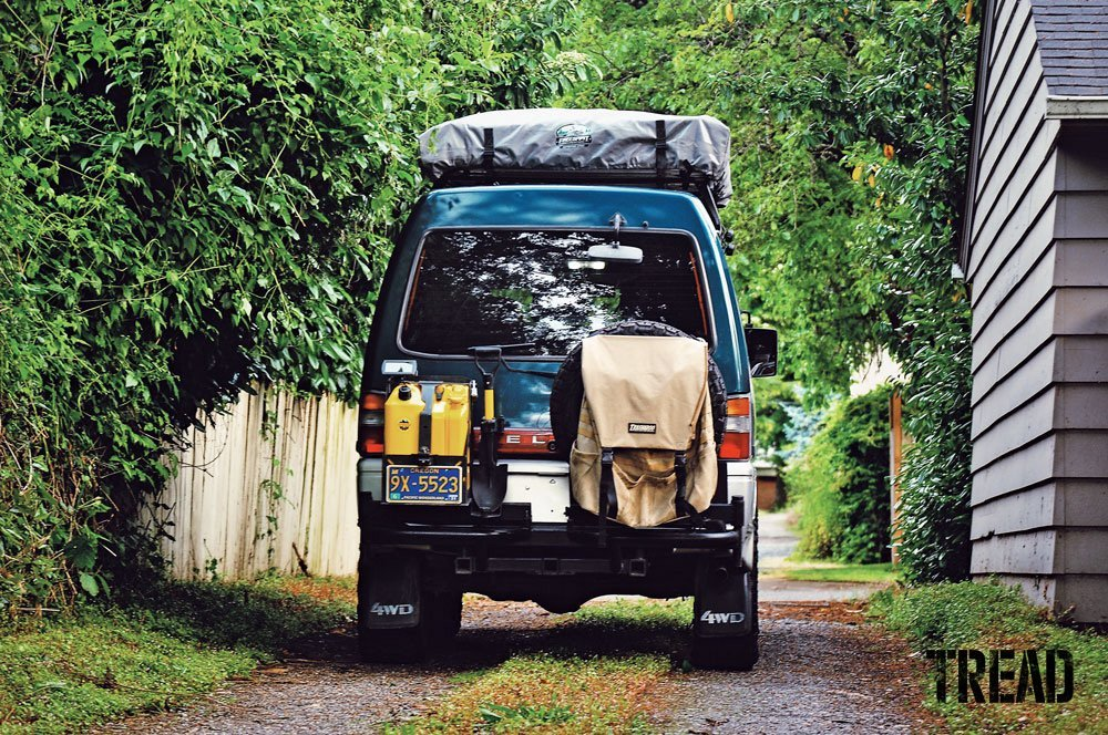 1993 Mitsubishi Delica with jerry cans and shovel