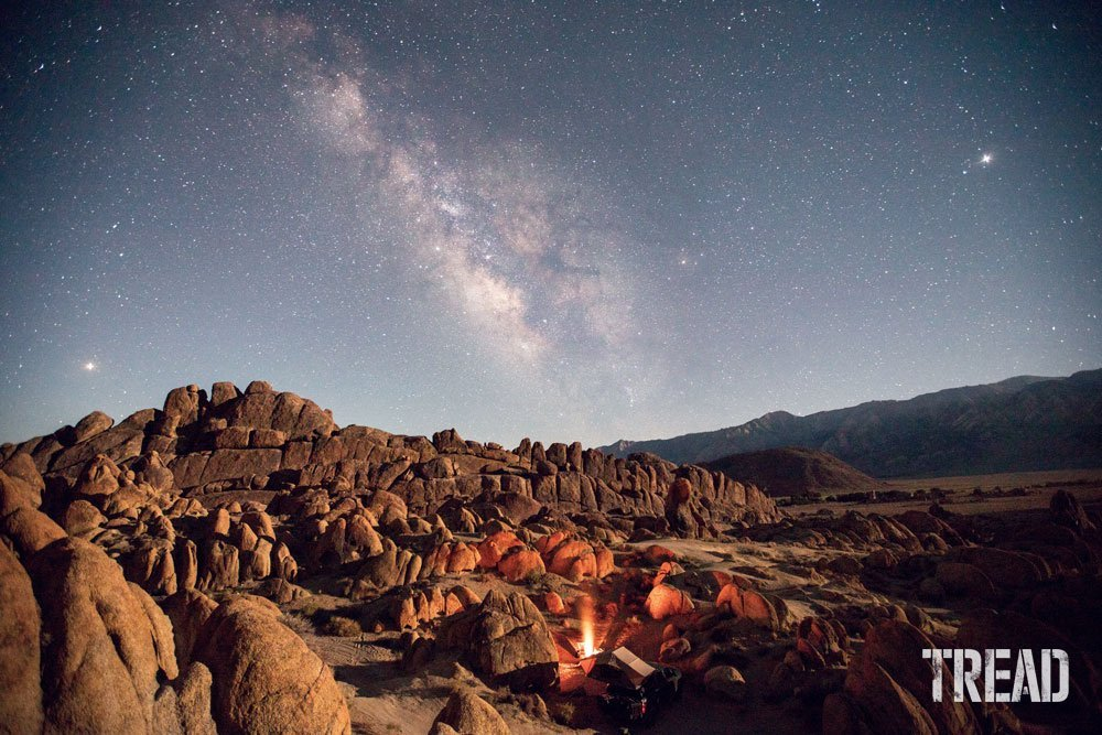 Rocks in front of a starry night sky