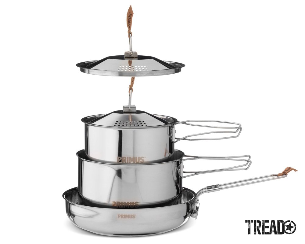 The Primus Campfire Cookset is made with durable 18/8 stainless steel has collapsible handles and straining lids.