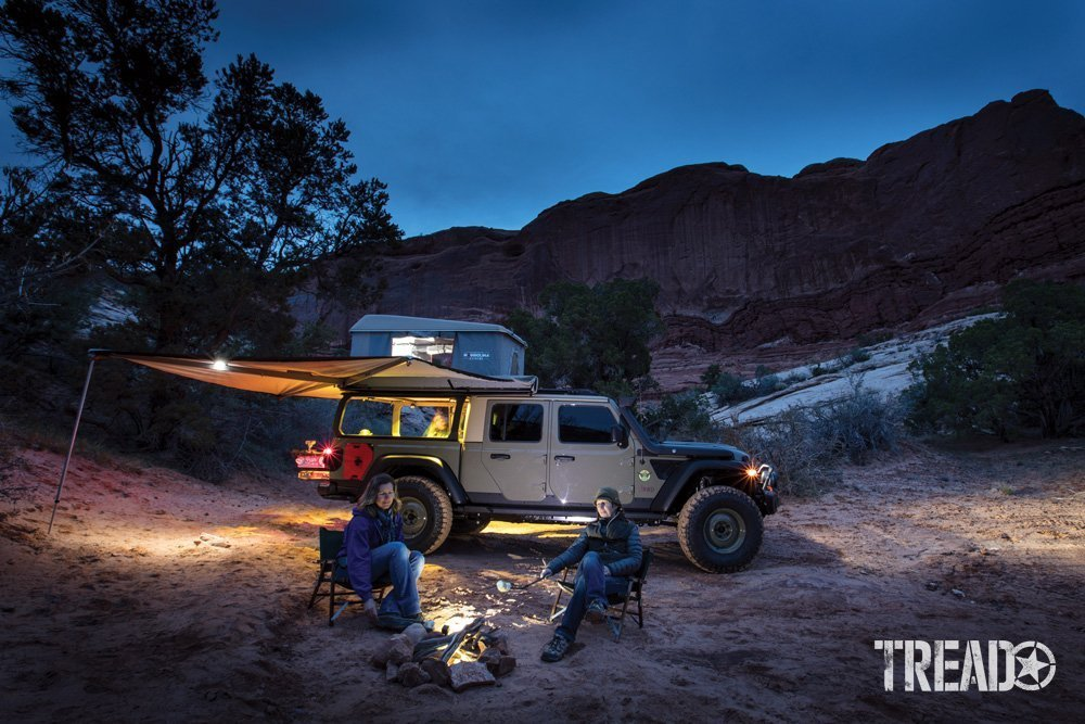 Enjoying camp with a Gladiator during dusk