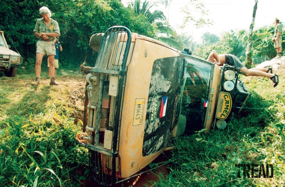Camel Trophy Land Rover on its side