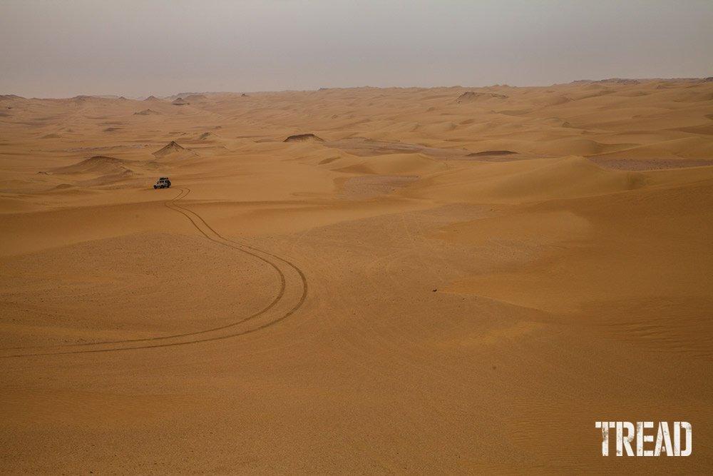Sahara Desert and tire tracks
