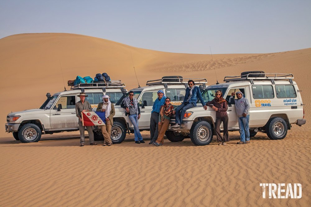 Expedition vehicles in desert