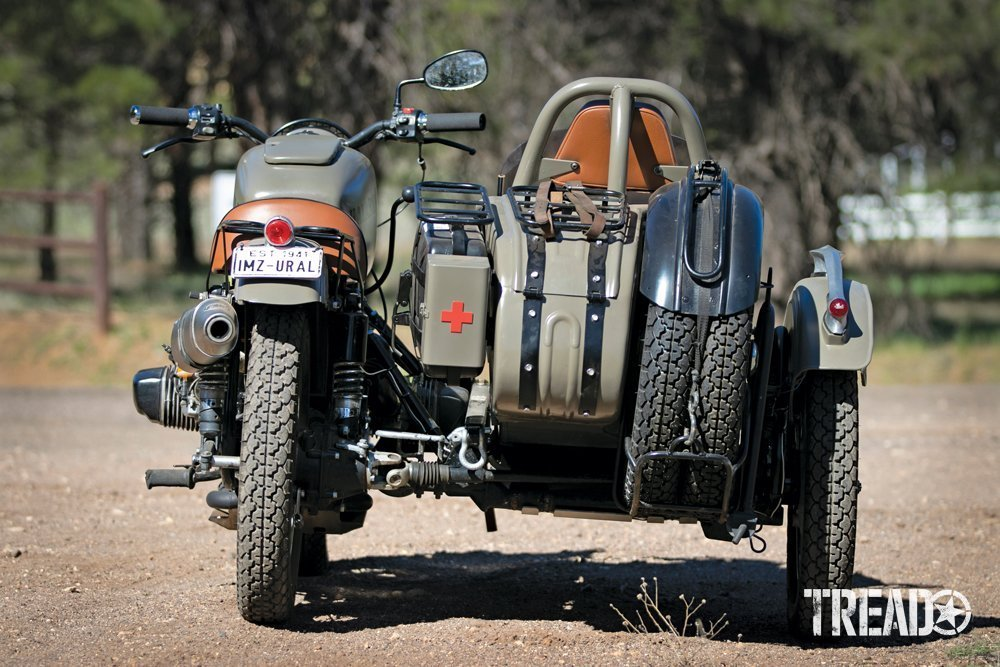 Rear view of a custom Ural motorcycle called U1 built by Kalaber Creations.