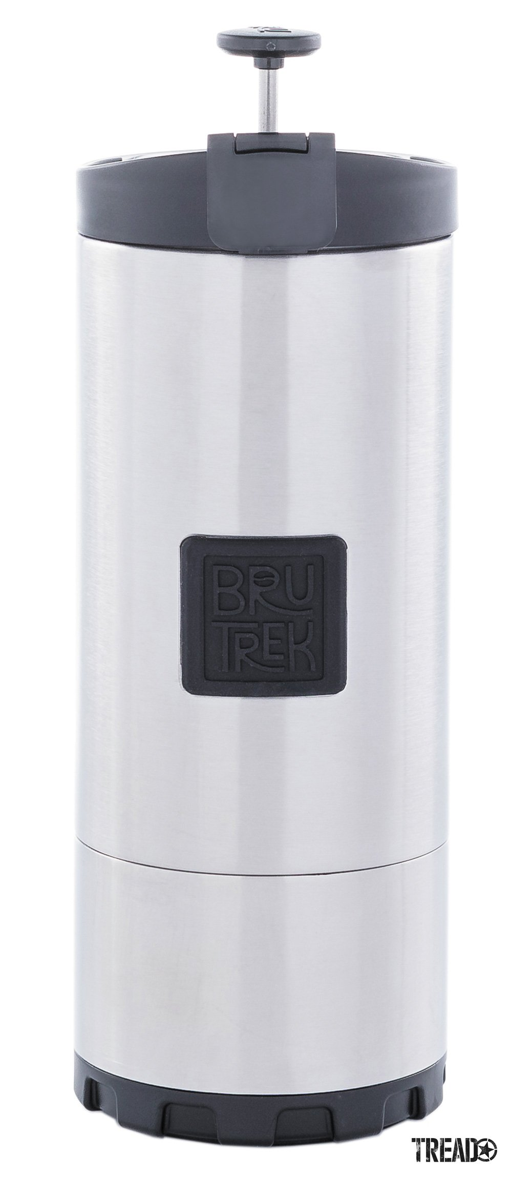 Bru Trek Travel French Press for coffee called the OVRLNDR in silver color