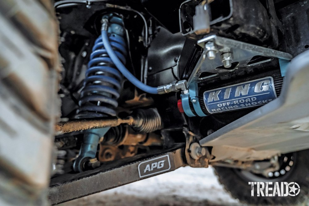 2019 Ford Ranger's suspension showcases King shocks and light blue components.
