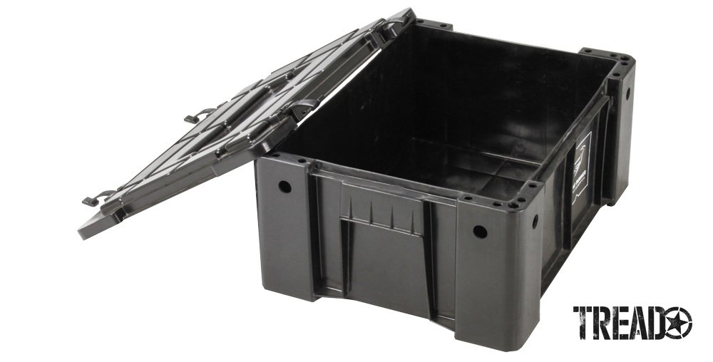 The black Wolf Pack box by Front Runner Outfitters has a separate lid and is compact and stackable.