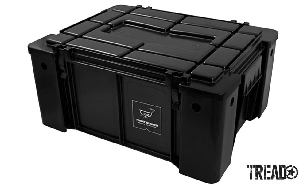 The black Wolf Pack box by Front Runner Outfitters keeps gear sturdy and in place.