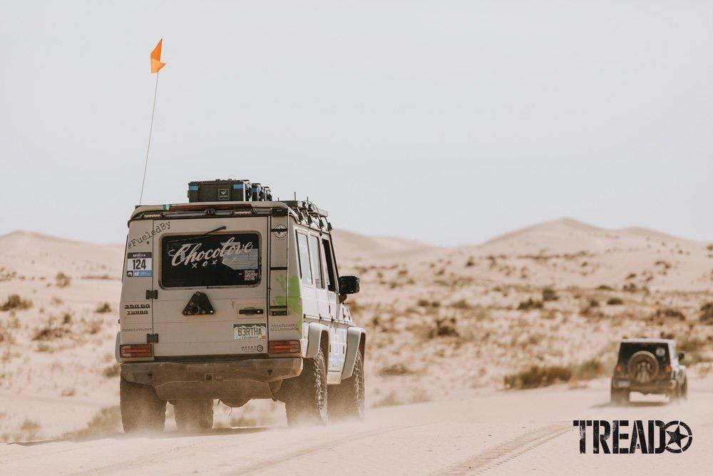Mercedes G570D driving through the desert.