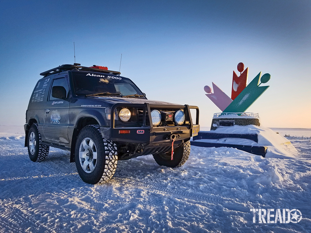The author's customized dark gray Mitsubishi Pajero successfully navigates its way to the Arctic Ocean during the 2020 Alcan 5000 Rally.