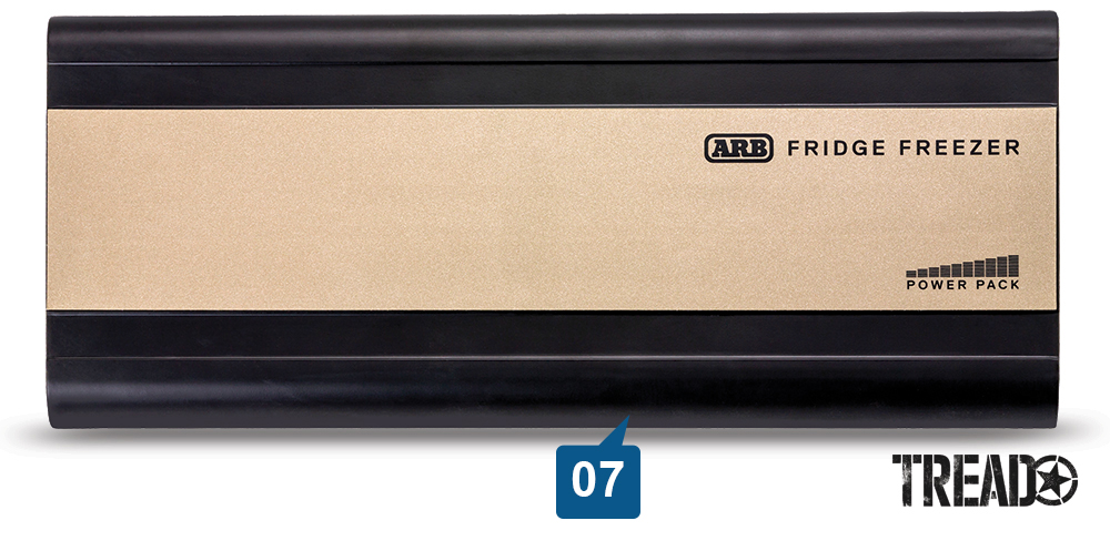 The bronze and dark brown slim ARB Fridge Freezer Power Pack can keep an ARB fridge cold for up to 18 hours.