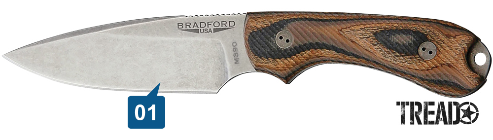 This Bradford USA 3D Guardian 3 utility knife features a multi-colored black, orange and tan handle and sharp blade.