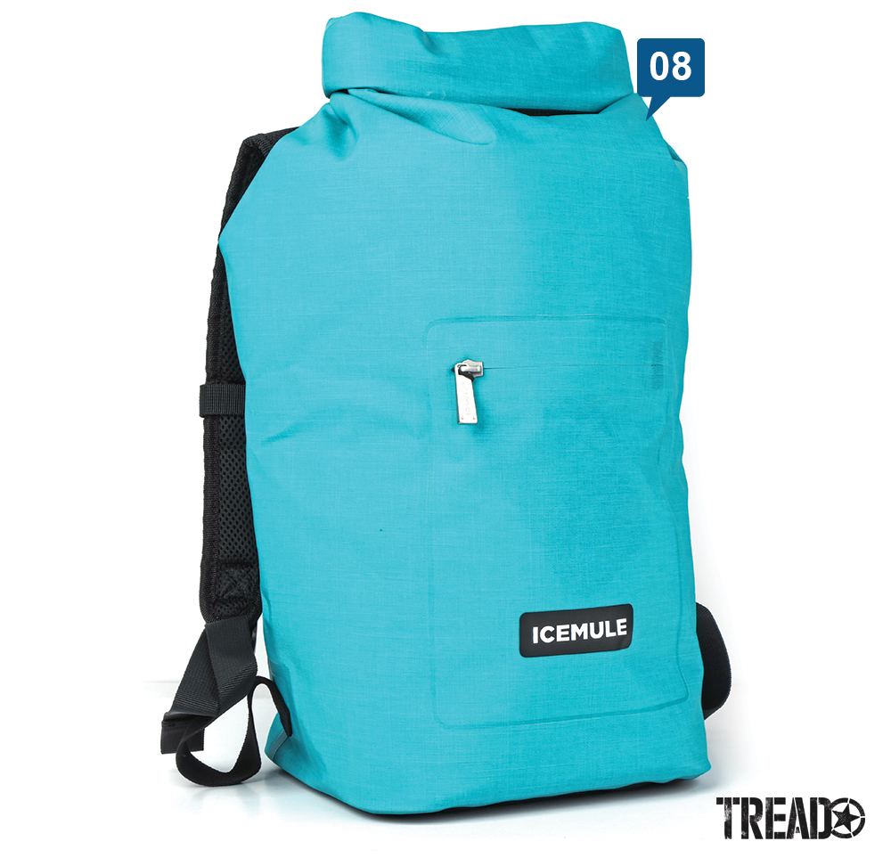 This Icemule/Jaunt15L cooler is a must for traveling, it's turquoise exterior and black straps make for clean design.
