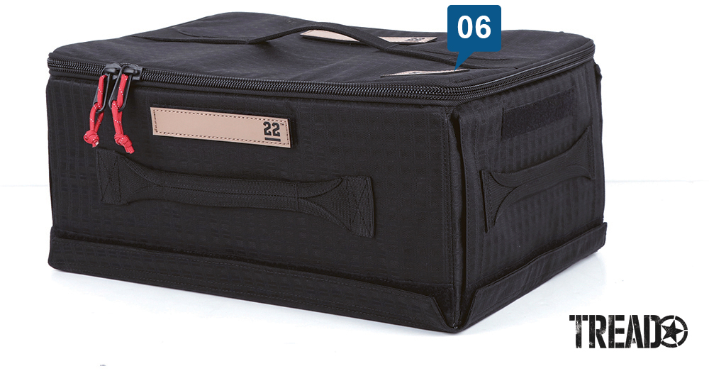 The black zippered Step 22/Stingray Flat Box folds flat when stored, but pops up and is rigid when in use.