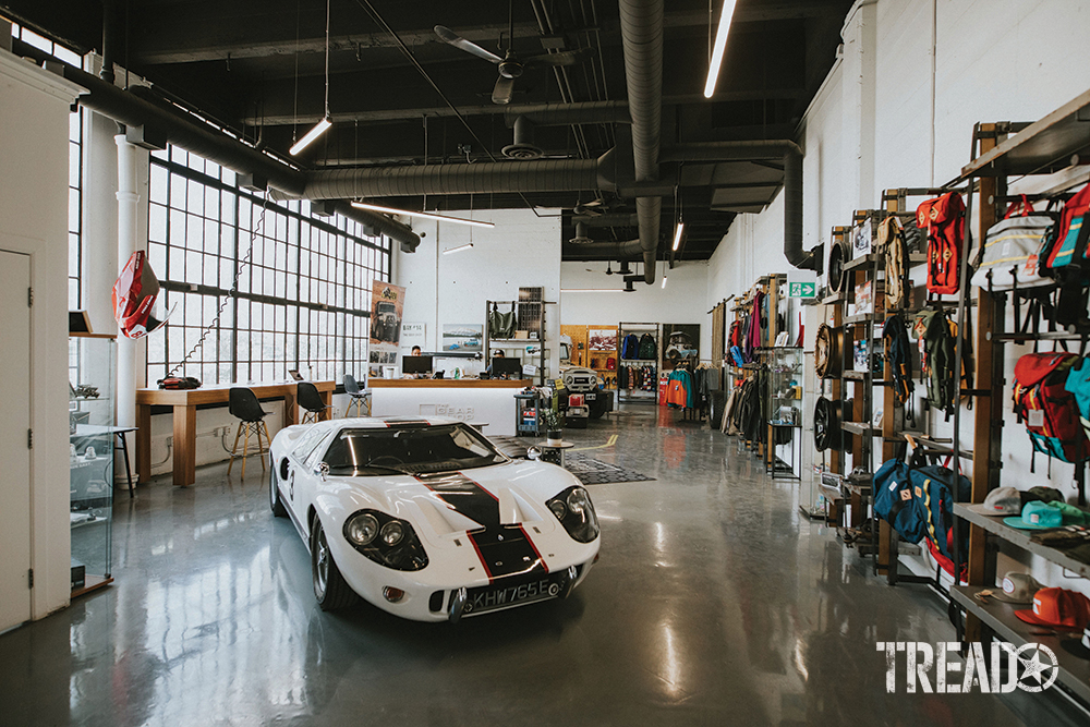 The Gear Shop lobby wouldn't be complete without this white and black Ford GT40!