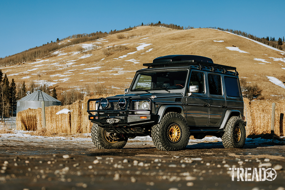 A customized silver 2004 Mercedes AMG G55 G-Wagen with gold wheels sits in front of a golden hill.