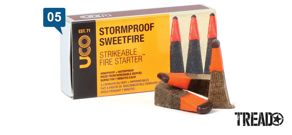 """UCO/Stormproof Sweetfire Strikeable fire starter stormproof matches are shaped like large candy corn and have tinder in its """"point."""""""