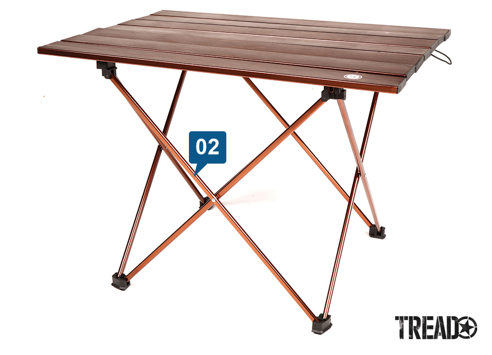 The Pack a Long Camp Table is a lightweight, space-saving wood-top table that is made of a strong orange-coated aluminum alloy, is waterproof, weather-resistant, and supports up to 30 pounds.