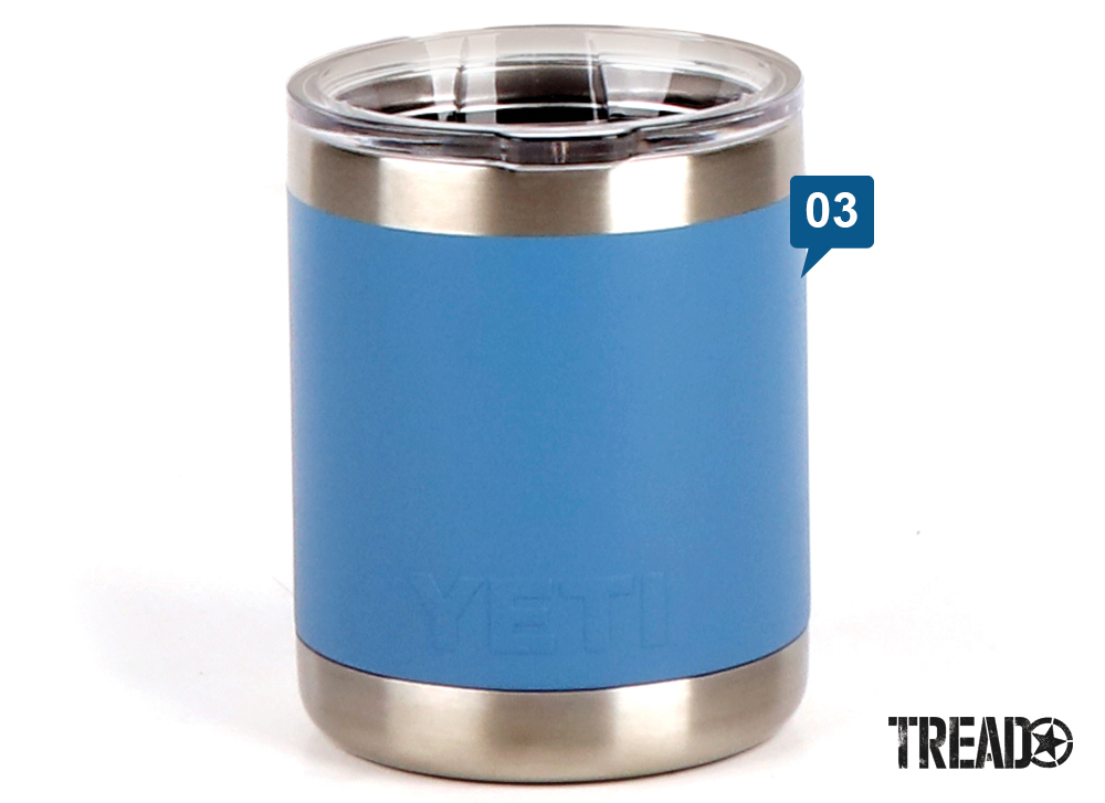 YETI's Rambler 10 Oz. Lowball features a sky blue and 18/8 stainless finish. It is double-wall vacuum insulation and comes with a clear lid so you can tell when it's time for a refill.