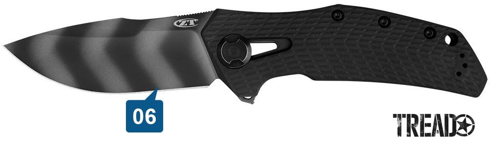 This beefy Zero Tolerance Knives0308BLKTS knife has a black handle, is compact and ready for cutting duties.