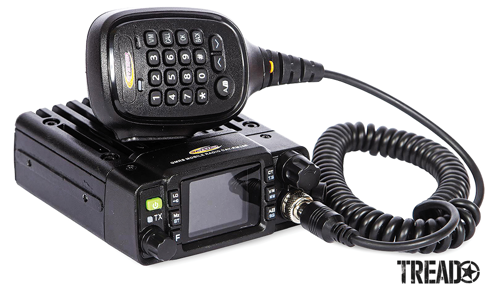 Hardwired radios come in various sizes, like this black corded radio, making it easy to find a spot to mount them.