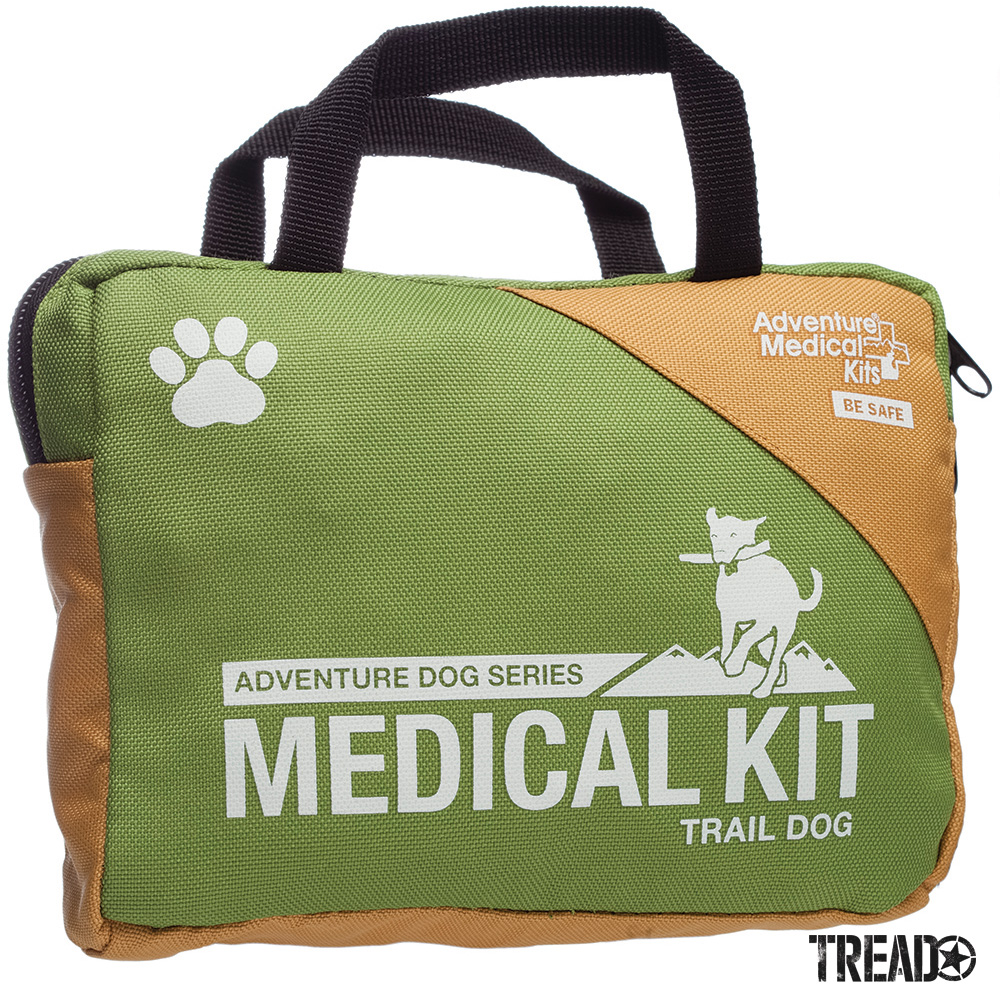 This kit provides the 10 essential tools, including tweezers, antibiotic ointment, gauze dressing, and an irrigation syringe, to treat common canine injuries. They're all packaged up in a durable, waterproof inner bag with a tan and light green zippered outer bag..