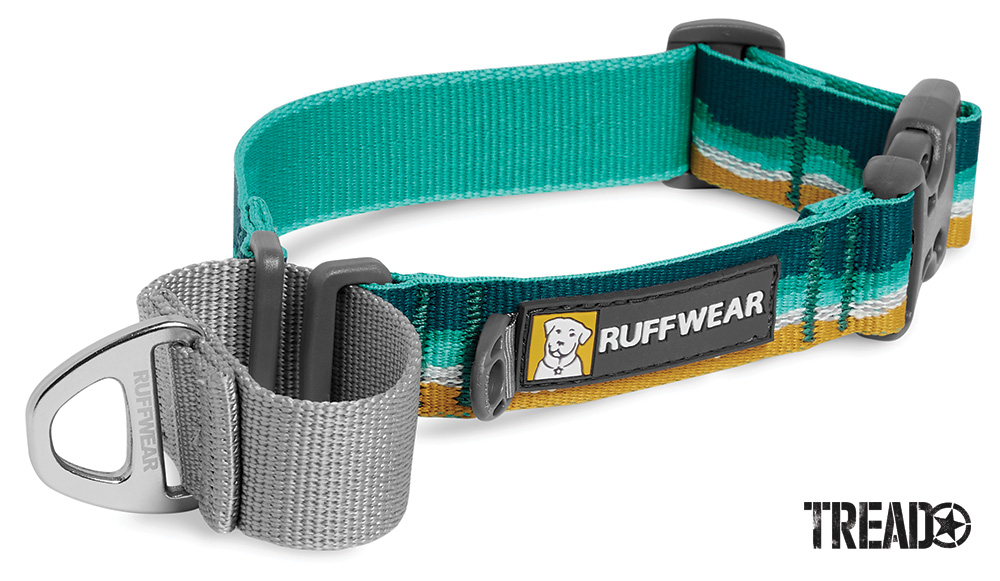 We like the Web Reaction Collar from RuffWear. It's a martingale collar with a buckle for easy on and off. It has mint green, yellow, and gray material that includes reflective Tubelok webbing.