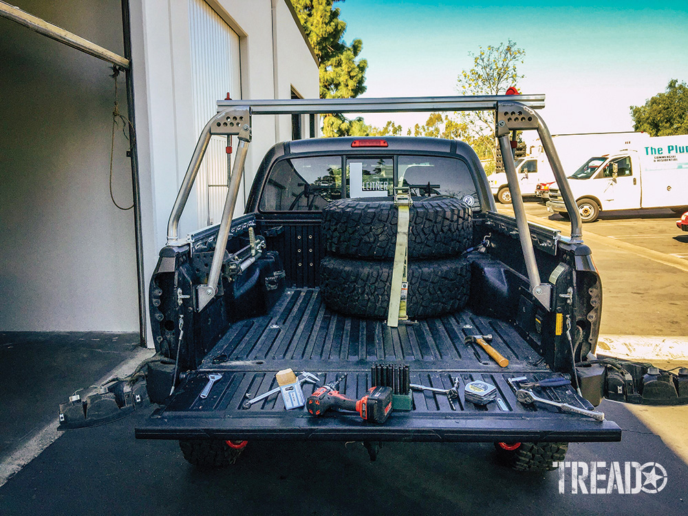 Truck bed with bed rack being built for Leitner Designs.